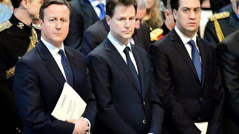 Nick Clegg (i midten) kan bli en uunngåelig samarbeidspartner. Her sammen med Storbritannias konservative statsminister David Cameron (til venstre) og opposisjonspartileder Ed Miliband i Labour. Foto: John Stillwell/Reuters/NTB Scanpix