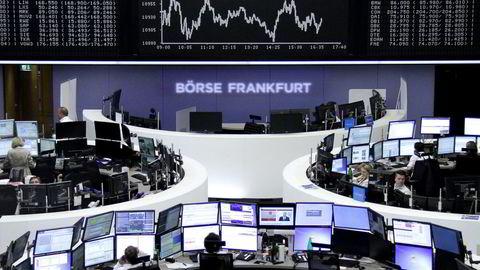 Fra Frankfurt-børsen tirsdag denne uken. Foto: REUTERS / NTB SCANPIX