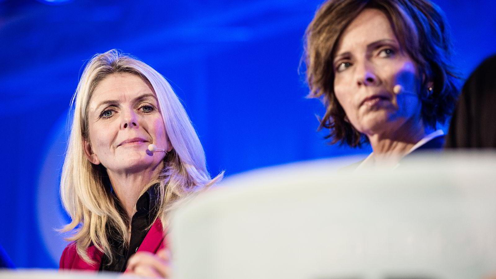 SAVNER LIDENSKAP. Konserndirektør i Gjensidige Forsikring Cecilie Ditlev-Simonsen (t.v.) mener norske sjefer med fordel kan være mer lidenskapelige. Til høyre tidligere polititopp Hanne Kristin Rohde.