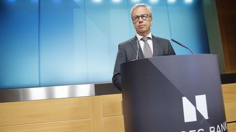 Sentralbanksjef Øystein Olsen under torsdagens pressekonferanse i Norges Bank. Foto: Terje Pedersen /