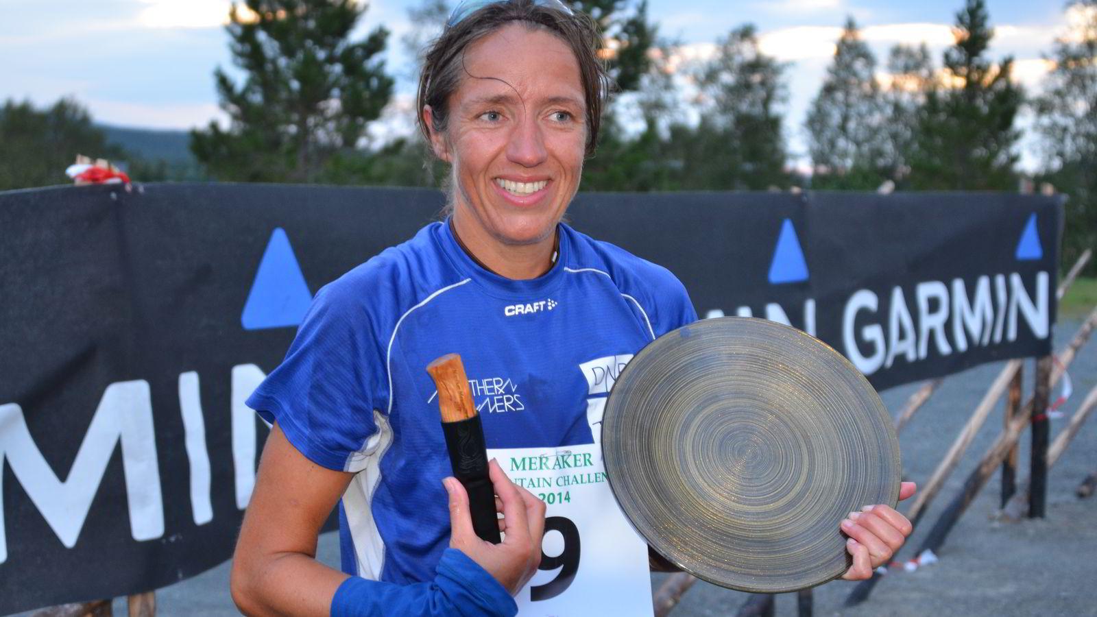 SLO REKORDEN: Guro Skjeggerød løp inn til ny rekord i Meråker Mountain Challenge. FOTO: Hallgeir Martin Lundemo
