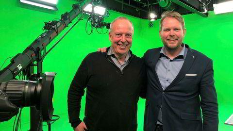 Styreleder Alf Lande (til venstre) i Ullevaal Media Center sammen med daglig leder Ole-Andreas Løvland i Trippel-M.