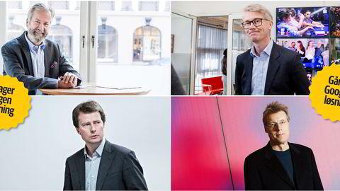 Schibsted-styreleder Ole Jacob Sunde (over til venstre) og Polaris-sjef Per Axel Koch (nederst til venstre) står sammen om annonsesalg. TV 2-sjef Olav T. Sandnes (øverst til høyre) og Aller-sjef Dag Sørsdahl går for Google. Foto: Adrian Nielsen, Aleksander Nordah, Eivind Sennese og Thomas T. Kleiven