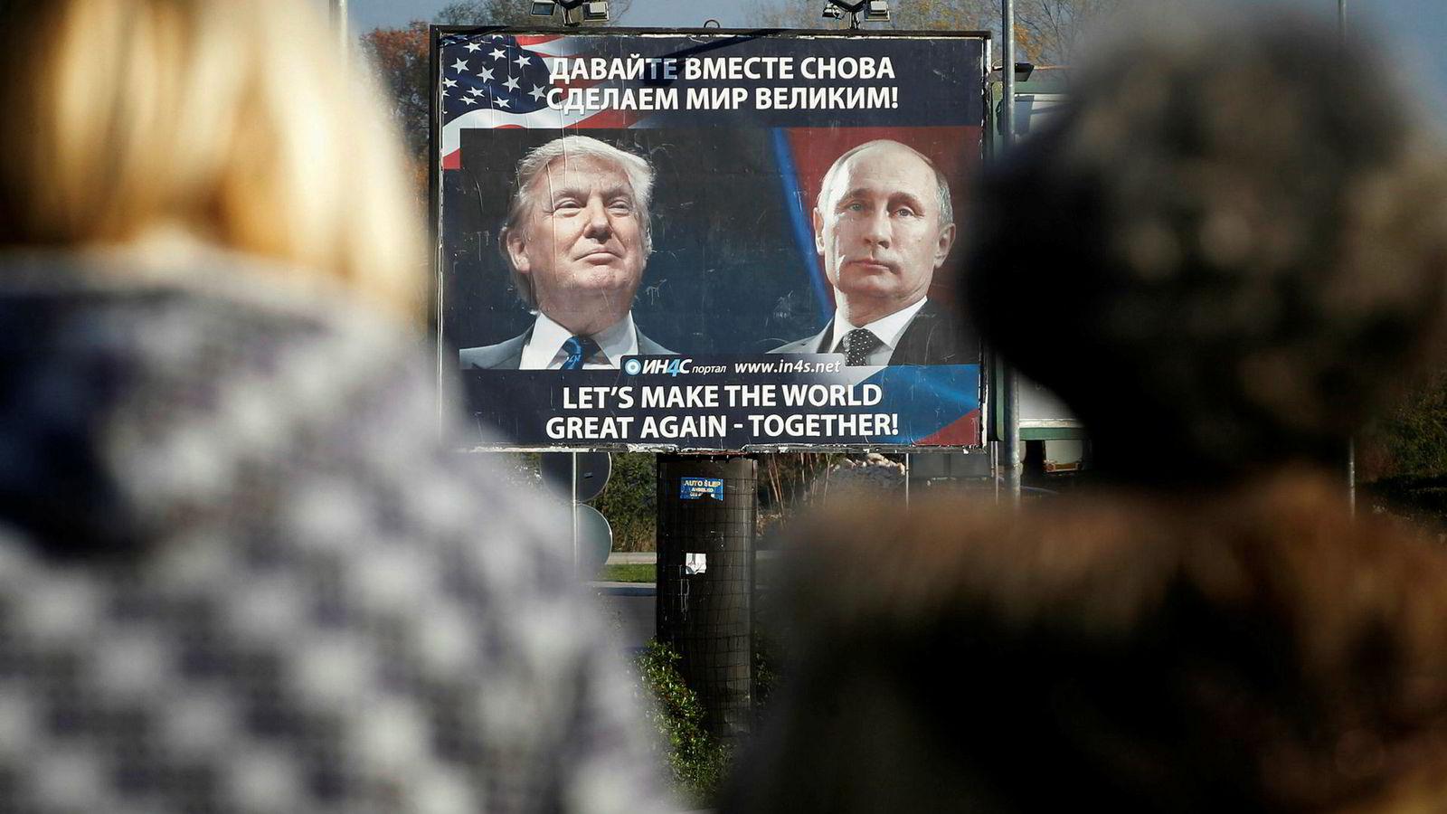 Det er ikke underlig at Trump beundrer Putin. Den russiske presidenten har den direkte kontrollen med økonomien som Trump ikke har. Trump disponerer i utgangspunktet ikke penger, det gjør Kongressen. Plakat fra et veikryss i Montenegro.