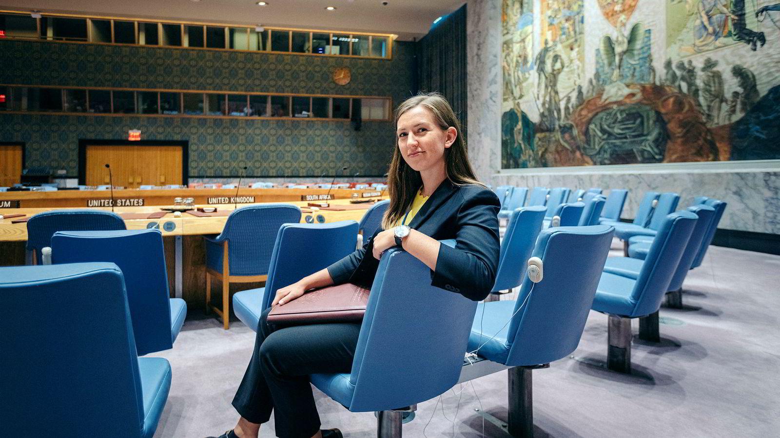 Tiril Høye Rahn jobber i tre måneder for Storbritannias delegasjon, som er en av de mektigste og største økonomiske bidragsyterne i sikkerhetsrådet.