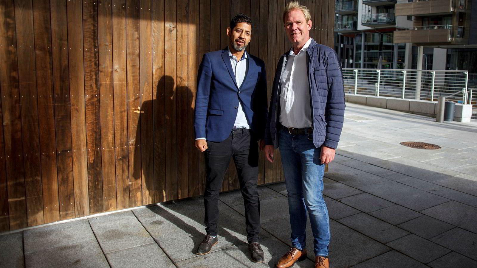 Håkon Wåge-Lorentzen (til venstre) i Fotspor Event slår seg sammen med Finn Vetle Hansen i G Travel for å møte stadig mer krevende kurs- og konferansekunder.
