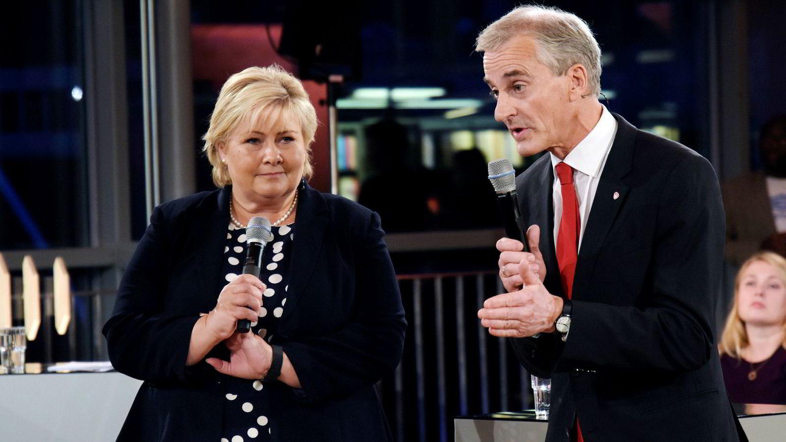 Statsminister Erna Solberg (H) og Arbeiderpartiets leder Jonas Jonas Gahr Støre kjemper om velgernes gunst 11. september.