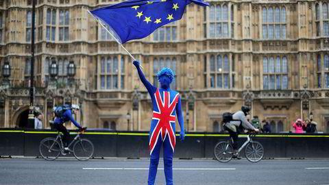 En antibrexitdemonstrant kledd i det britiske flagget vifter med et EU-flagg foran Parlamentet i London.