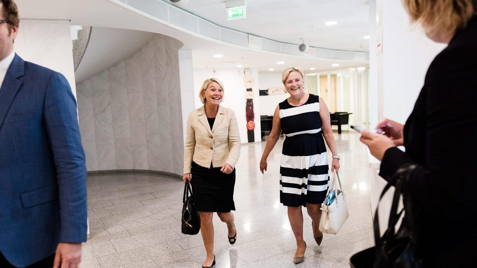 Ministeren og styrelederen. Næringsminister Monica Mæland (til venstre) og styreleder i Statkraft, Thorhild Widvey.