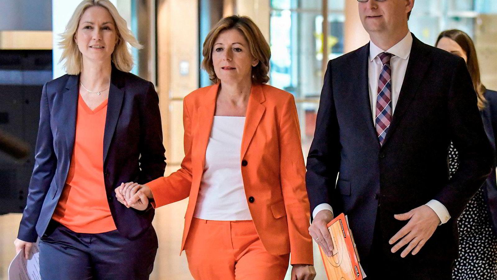 VERRE: Malu Dreier, Manuela Schwesig og Thorsten Schäfer-Gümbel, trioen som midlertidig leder det tyske sosialdemokratiske partiet SPD, opplever målinger på ellevetallet.