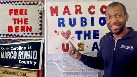 I sør-Carolina er entusiasmen stor for Marco Rubio som republikansk presidentkanditat. Sebastian Barron er Field Director for Marco Rubio. På demokratenes side digger unge hvite Bernie Sanders. Alle foto: Asle Toje