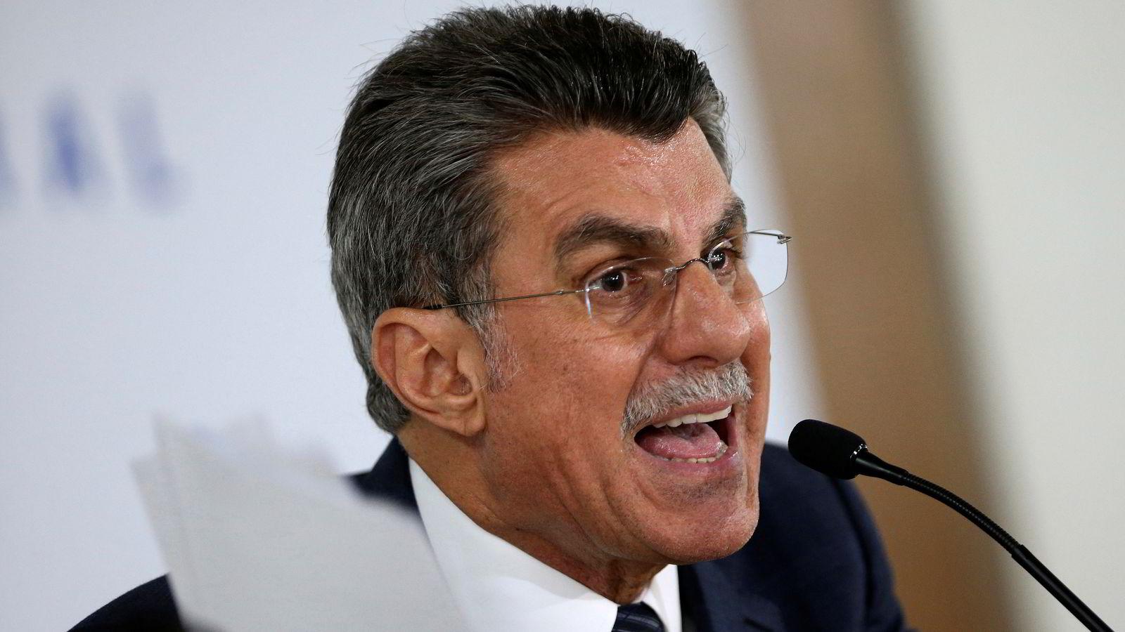I SKVIS. Brasils planleggingsminister Romero Juca avviser ikke at opptakene som ble lekket mandag er ekte. Han nekter imidlertid for at uttalelsene dreide seg om et forsøk på å stanse korrupsjonsetterforskningen. FOTO: Adriano Machado / Reuters / NTB scanpix