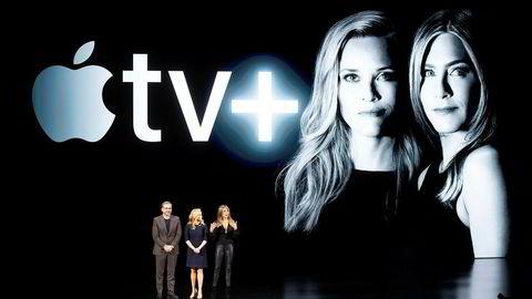 Skuespillerne Steve Carell (f.v.), Reese Witherspoon og Jennifer Aniston var med under lanseringen av Apples strømmetjeneste, TV+, i mars.