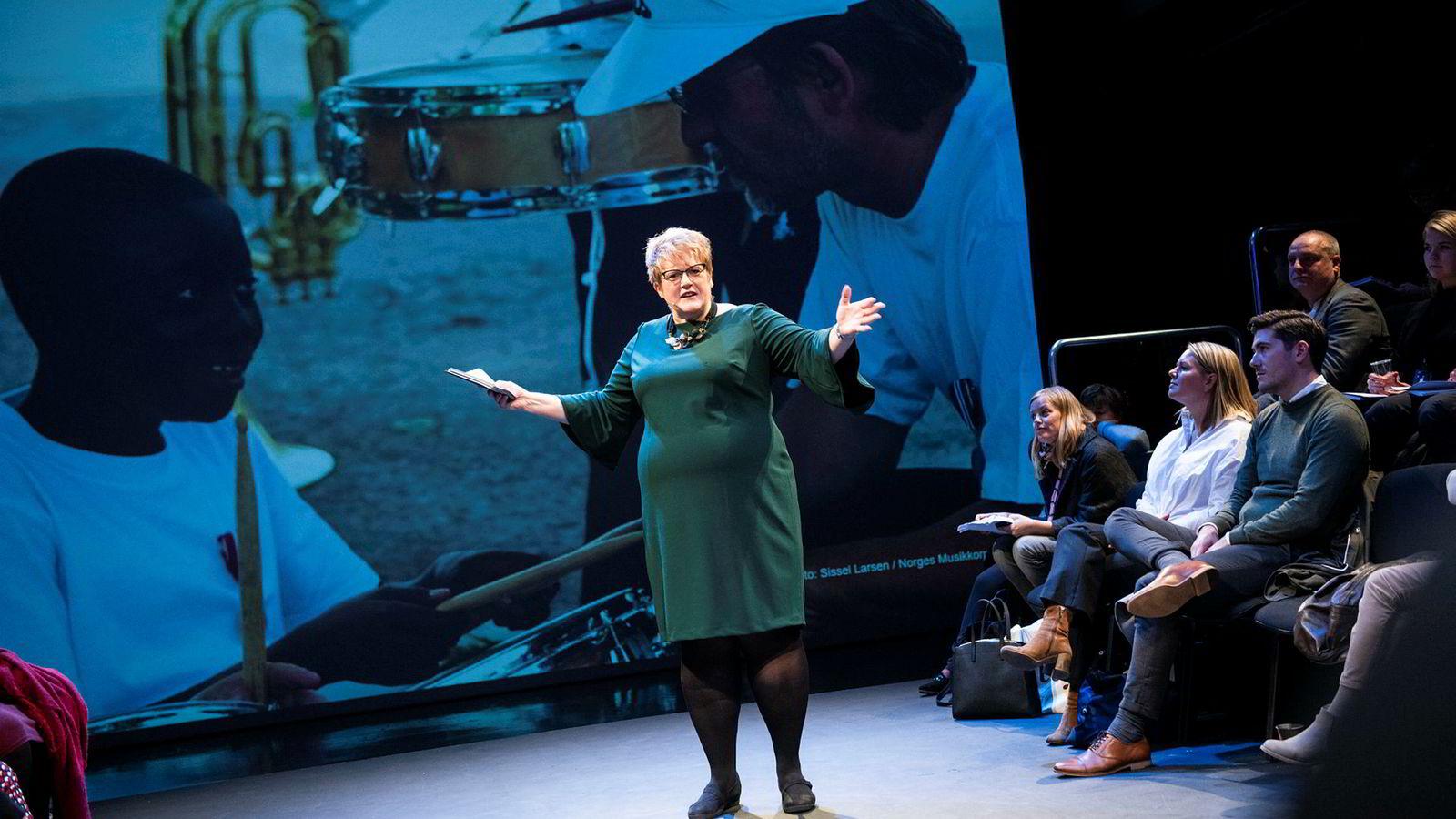 Kulturminister Trine Skei Grande presenterte sitt forslag til kulturbudsjett på Dramatikkens Hus på Grønland i Oslo.