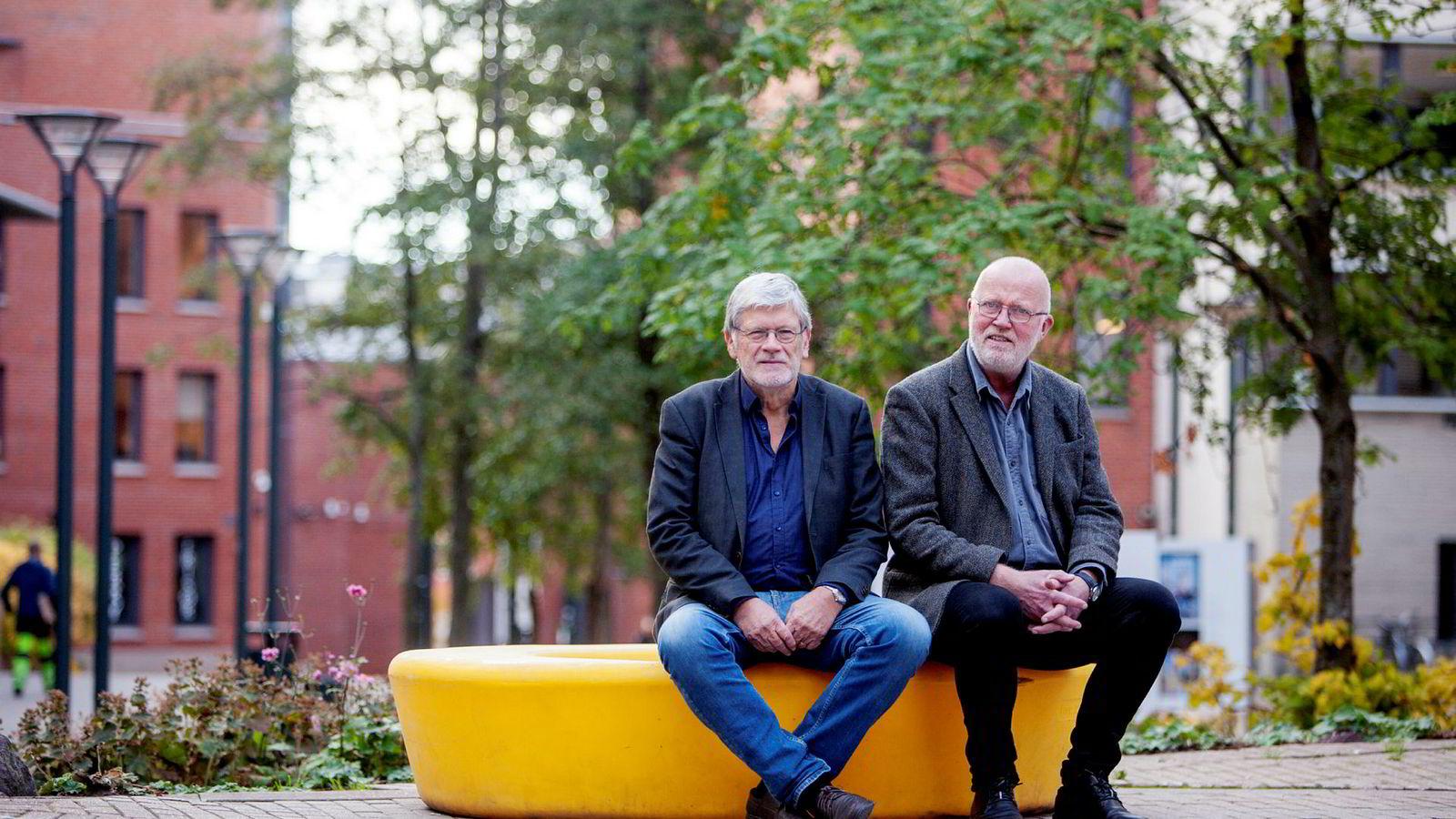 Ansettelsen av en ny rektor har ikke gått rolig for seg på Oslomet. Professorene Anders Breidlid (til høyre) og Ragnar Audunson er misfornøyd med ansettelsesprosessen.