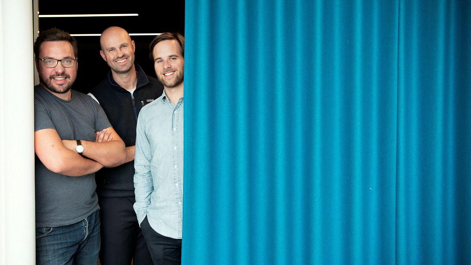 Fra venstre teknologidirektør Carl Christensen, styreleder Anders Kvåle (midten) og administrerende direktør Håvard Haukeland i Spacemaker.