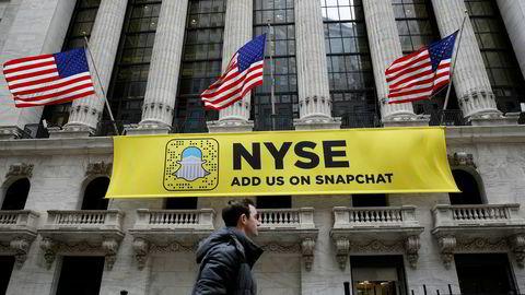 Utenfor New York Stock Exchange på Wall Street i New York tidligere i år.