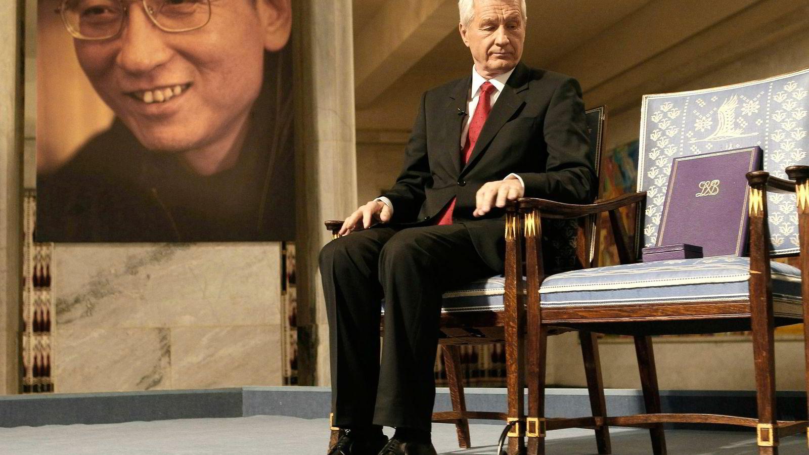 Thorbjørn Jagland, daværende leder av Nobelkomiteen, under tildelingen av Nobels fredspris i 2010, som satte Norges forhold til Kina på prøve. Foto: Heiko Junge/AP/NTB Scanpix
