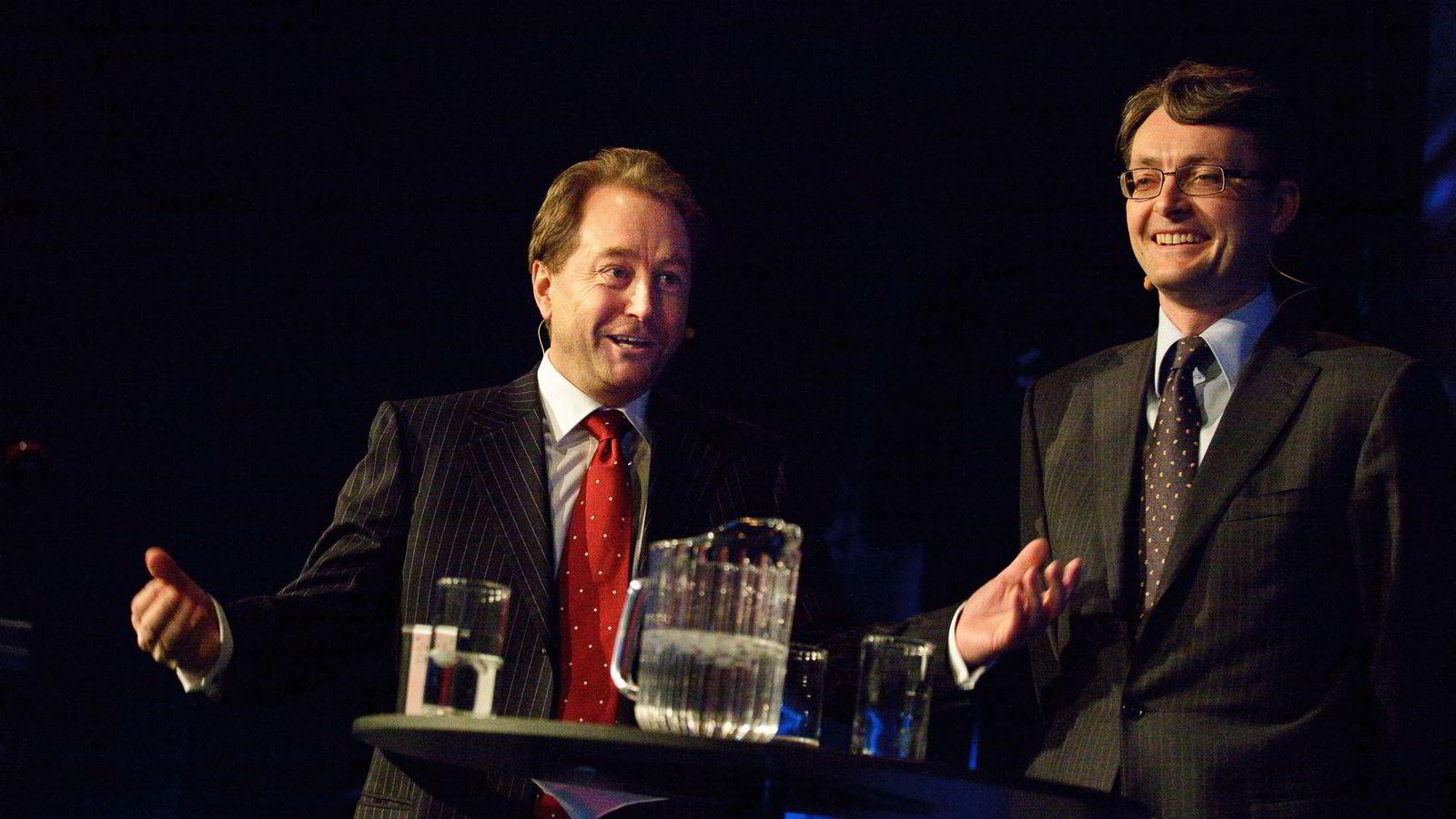 Aker- og Aker Solutions storaksjonær Kjell Inge Røkke (t.v.) og styreleder Øyvind Eriksen kan juble over nok en gigantisk Statoil-avtale. Her i et bilde fra 2009.