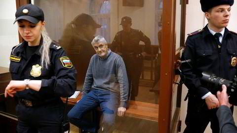 Den amerikanske investoren Michael Calvey under fengslingsmøtet i Moskva rett før helgen, der han ble dømt til å sitte minst to måneder i varetekt.