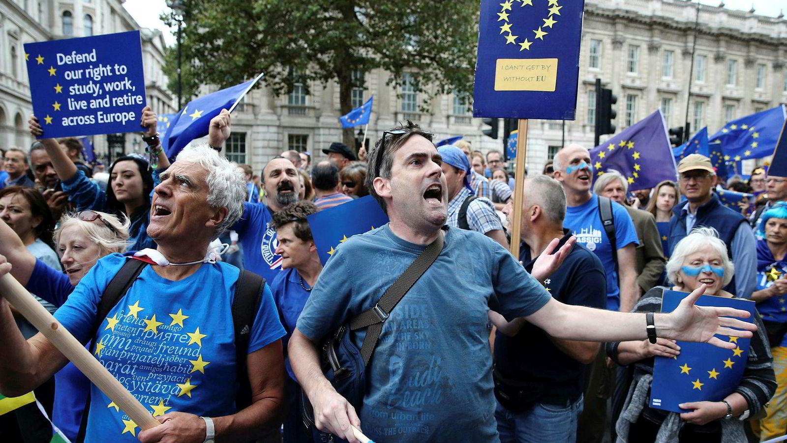 I sitt sekstiende år står EU nå overfor sin hittil dypeste krise. Et av de største medlemslandene vil ut, det er ustabilitet rundt euroen og EU-skeptiske partier har fremgang i de fleste land, skriver artikkelforfatteren. Her demonstrerer motstandere av brexit i London.