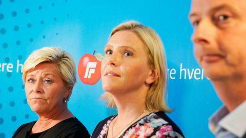 Siv Jensen og Frp-ledelsen møtte pressen etter landsstyremøte søndag.