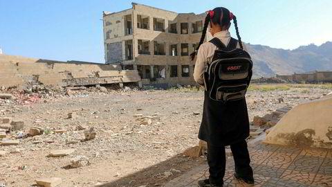 Denne skolen sør i Yemen, i byen Taiz ble skadd i et luftangrep.
