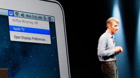 FØRSTE NORSKE PÅ APPLE TV. TV 2 Sumo ble tirsdag tilgjengelig på Apple TV. Her Craig Federighi i Apple. Foto: Stephen Lam/