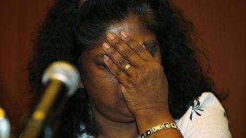 TRYGLER: Raji Sukumaran er moren til en av australierne som sitter på dødscelle i Indonesia. Her er hun under en pressekonferanse i Jakarta. FOTO: Darren Whiteside / Reuters / NTB scanpix