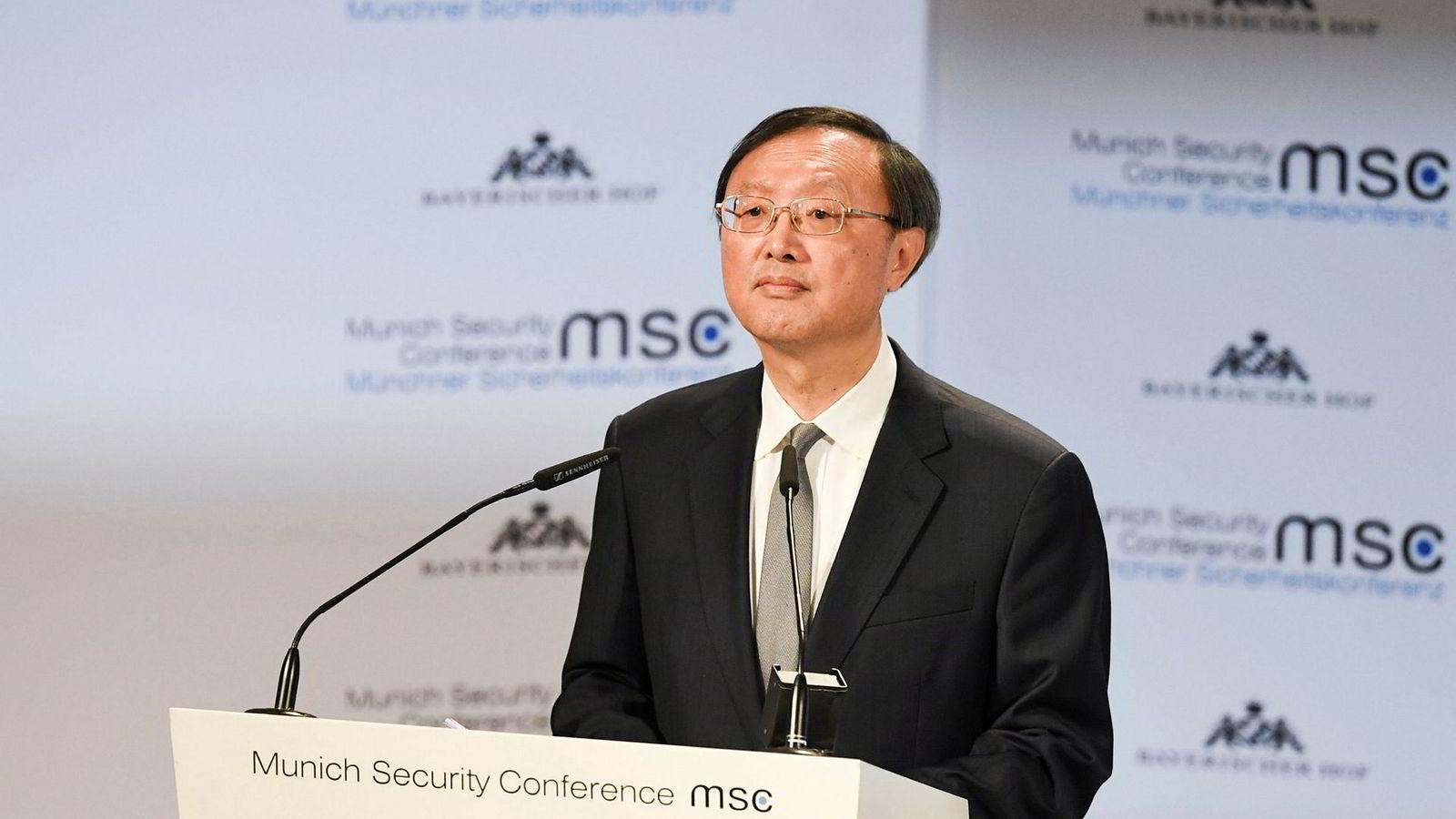 Kinas utsending til sikkerhetskonferansen i München, Yang Jiechi, snakket varmt om internasjonalt samarbeid, men sto steilt i forsvaret av selskapet Huawei.