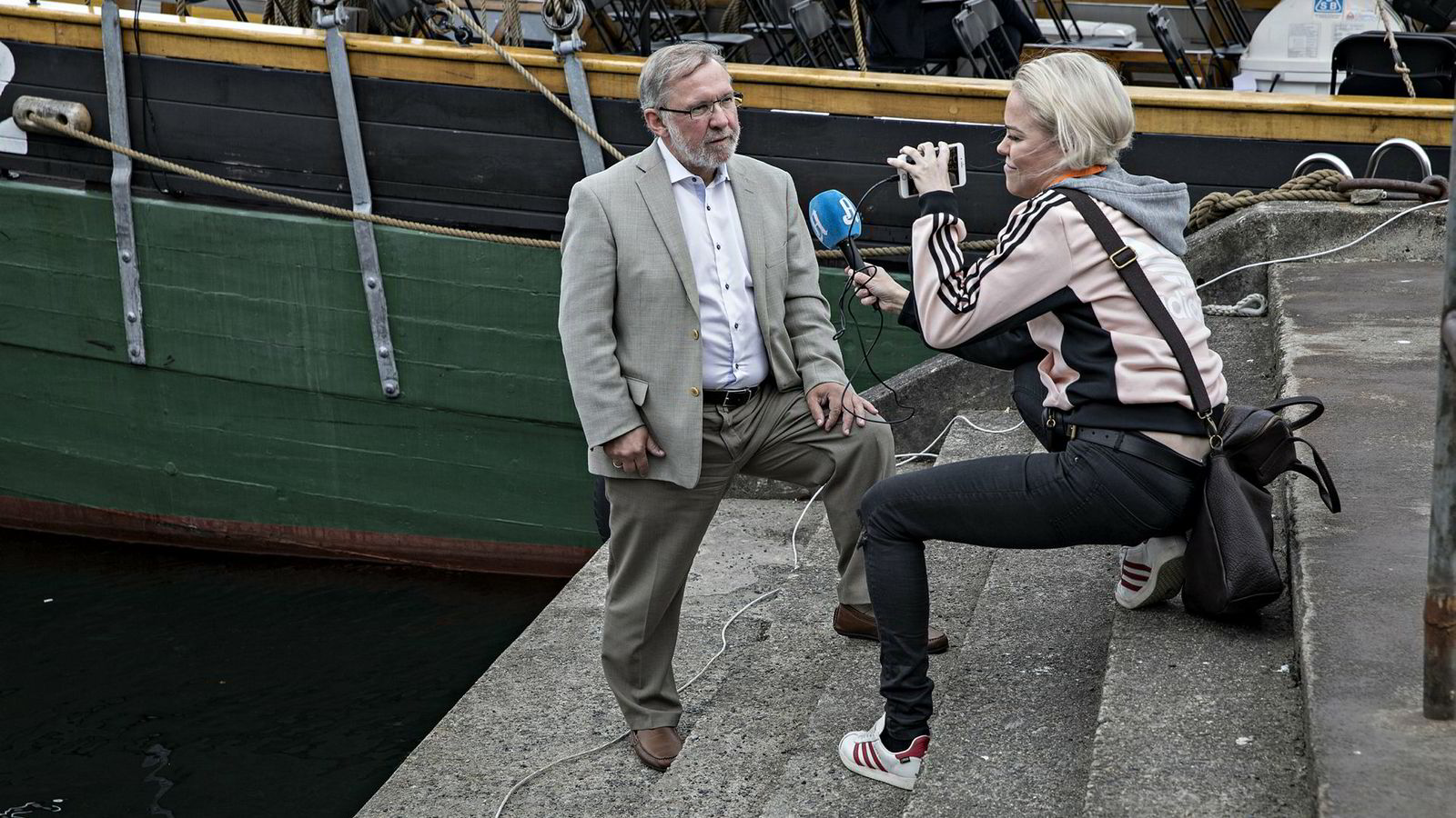 Harald Stanghelle sammen med Aftenposten-journalist Ingeborg Senneset under Arendalsuka.