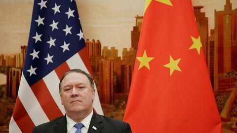 Kina med kraftig reaksjon på utspill fra USAs utenriksminister Mike Pompeo. Bildet er fra hans besøk i Kina i juni ifjor.