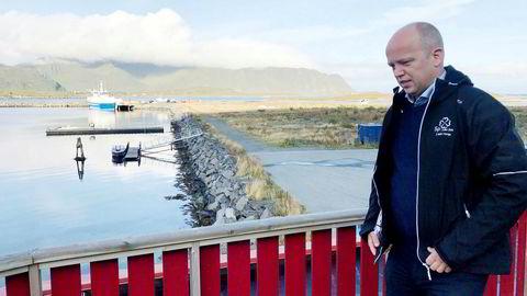 Sp-leder Trygve Slagsvold Vedum, her fotografert på valgturné i Ramberg i Lofoten.