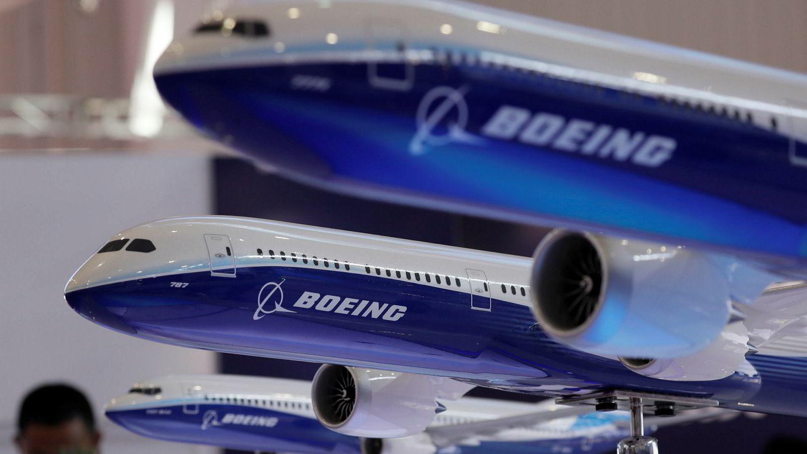 Boeing-modeller på utstilling i den kinesiske byen Zhuhai forrige måned. Nå åpner flygiganten for produksjon av fly i originalstørrelse i samme land.