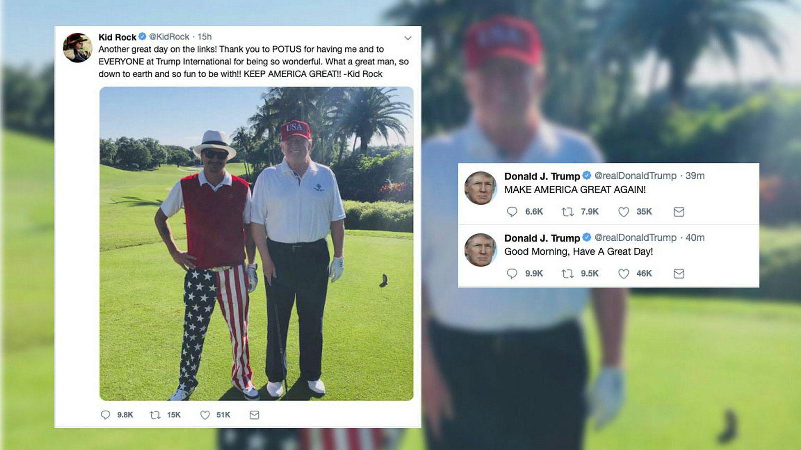 Dagen etter at Muller-rapporten er levert kongressen ønsker President Donald Trump via twitter en god søndag og spiller golf med rosckesjernen Kid Rock.