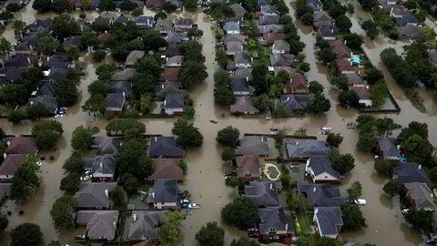 Flommen etter uværet Harvey oversvømte hele bydeler i Houston.