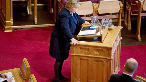 DATATRØBBEL. – Vi skal gå igjennom dommen som er kommet, sa statsminister Erna Solberg. I spørretimen på Stortinget ble hun avkrevd svar om hva regjeringen nå vil gjøre med datalagring. Alle foto: Øyvind Elvsborg