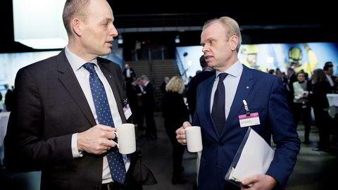 Yaras Torgeir Kvidal (til venstre) og Svein Tore Holsether leverer under forventningene i fjerde kvartal. Her under NHOs årskonferanse tidligere i år.