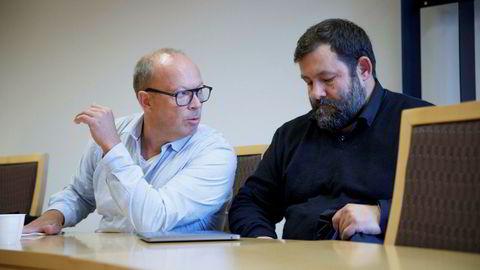 Økolandsbyselskapet Filago er slått konkurs. Ledelsen måtte torsdag morgen møte i retten. Fra venstre: Styreleder Helge Lund-Roland og daglig leder Trygve Harder Strand i selskapet.