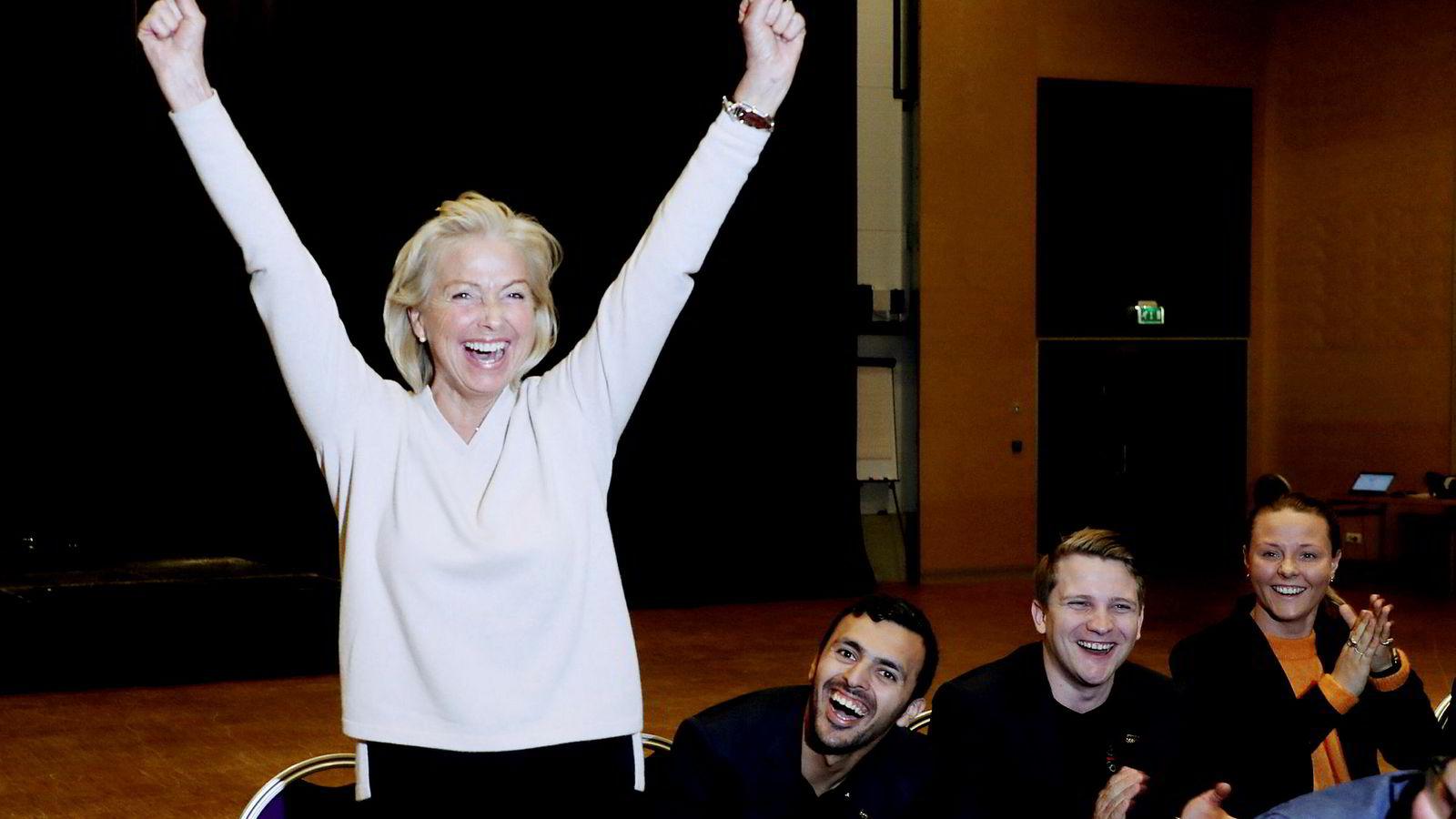 Berit Kjøll jublet da hun i mai med knapp margin vant valget og ble ny idrettspresident.