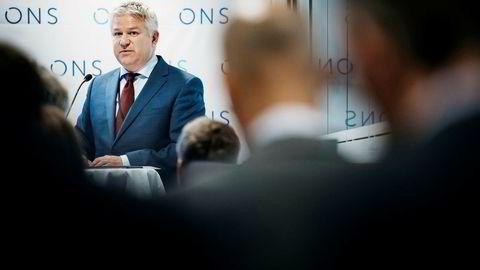 Konserndirektør i Equinor Pål Eitrheim holder pressekonferanse under oljemessen ONS i Stavanger.