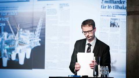 Under DNs energikonferanse i Oslo tirsdag brukte olje- og energiminister Terje Søviknes mye tid på å forsvare hvordan hans departement har gått frem for å kartlegge lønnsomheten i Goliat-prosjektet. Foto: Gunnar Lier