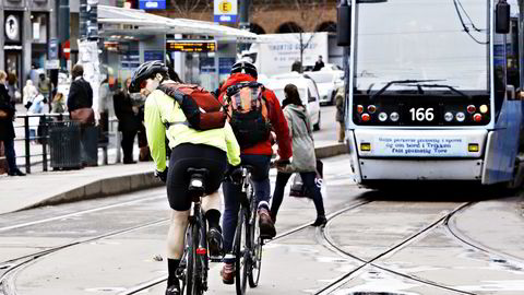 konfliktnivået mellom bilister og syklister er høyt og spøken fra Nitimen ble tatt opp i Kringkastingsrådet. Foto: Signe Dons/NTB Scanpix