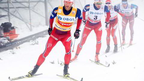 Martin Johnsrud Sundby vant femmila i Holmenkollen overlegent. Foto: Terje Bendiksby/Scanpix
