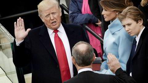 Donald Trump sverges inn som USA 45. president.