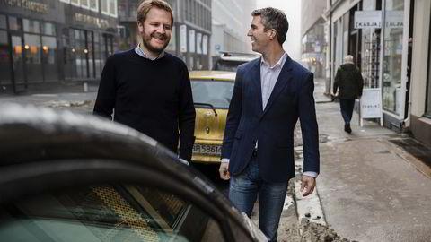 Administrerende direktør Even Heggernes og styreleder Jacob Tveraabak i Nabobil. Foto: Per Thrana