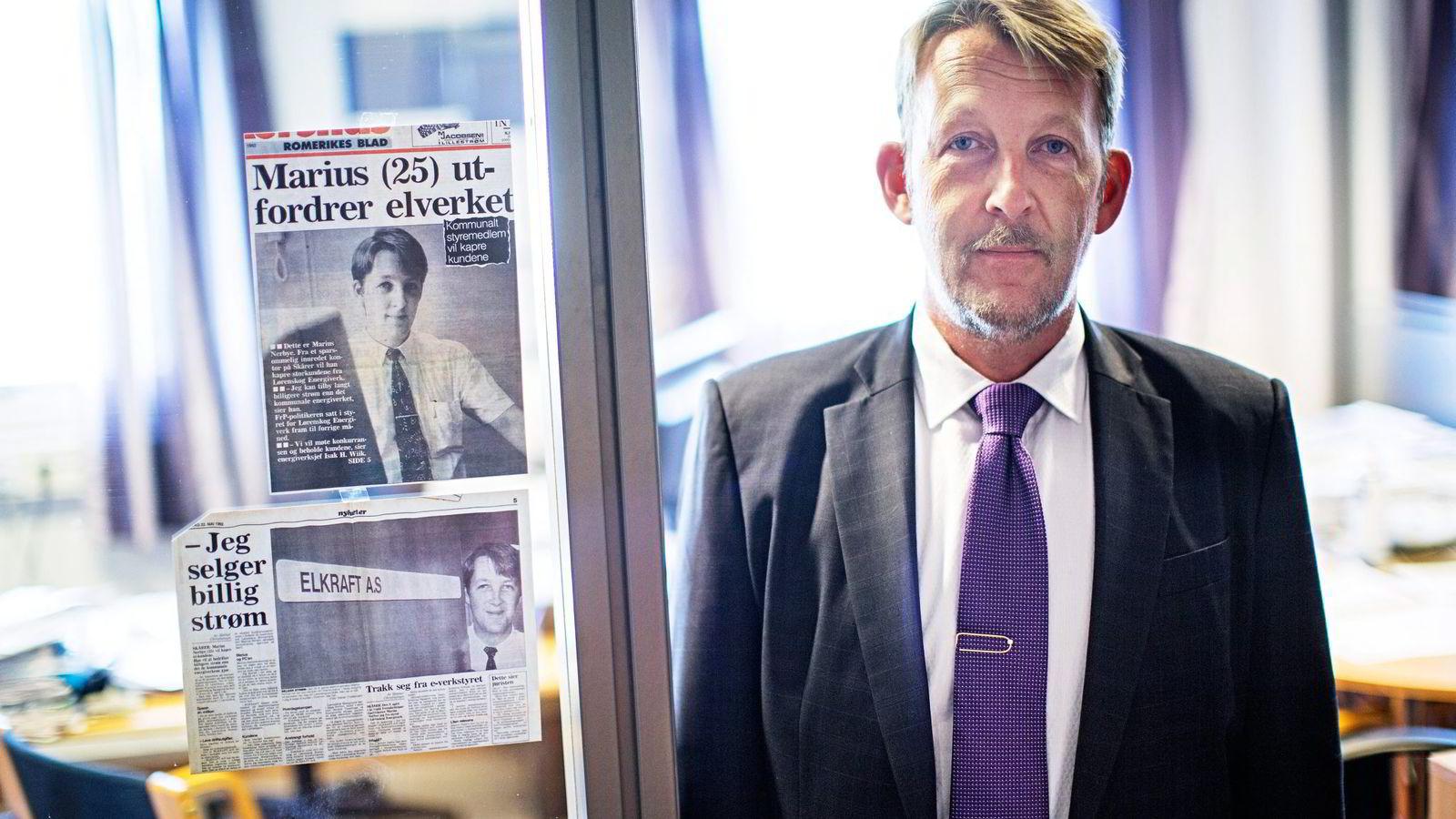For 25 år siden var Marius Nerbye (50) i Elkraft en av de nye aktørene i kraftmarkedet da næringen ble liberalisert. 25 år etter er han konsernsjef for et milliardkonsern med rundt 100 ansatte. Foto: