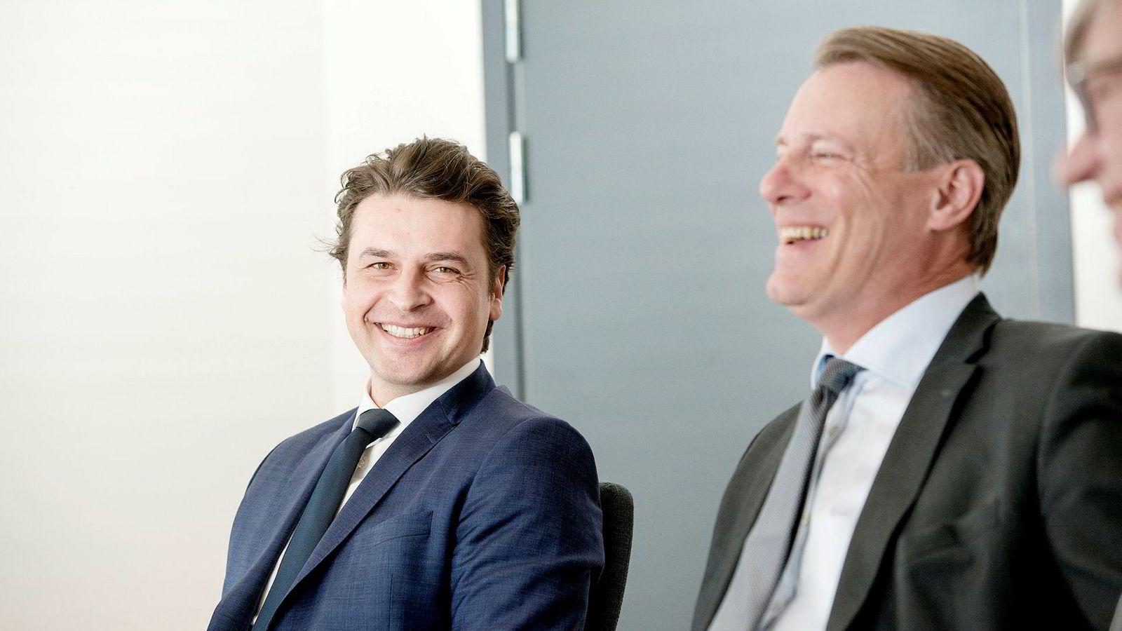 Ferd-sjef Morten Borge (til venstre) og Ferds styreleder Johan H Andresen.