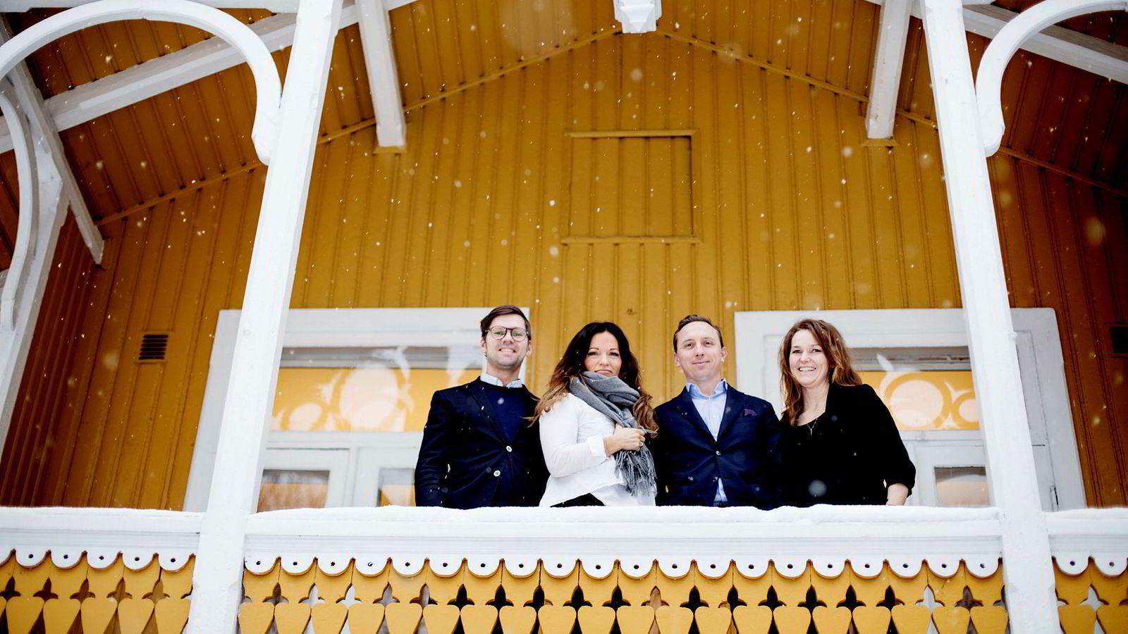 Fra en gul villa på Majorstuen jobber Kolonihagen-sjef Kristina Finne med å bygge nye egne merkevarer for Rema. Her er hun sammen med innovasjonssjef og bryggermester Arnt Ove Dalebø (fra venstre), salg- og markedssjef Paul Rigault og konseptutvikler Heidi Kirkeng Kvaleid (til høyre).