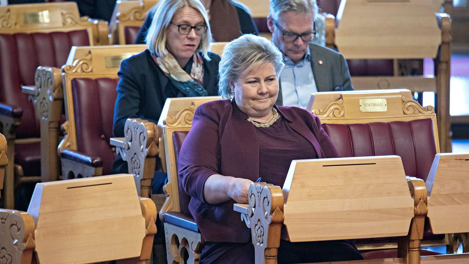 Statsminister Erna Solberg (H), her fra en spørretime på Stortinget.